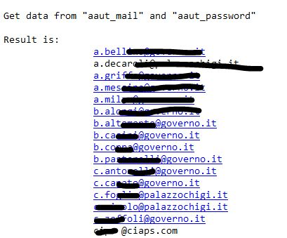 Sql injection Governo.it