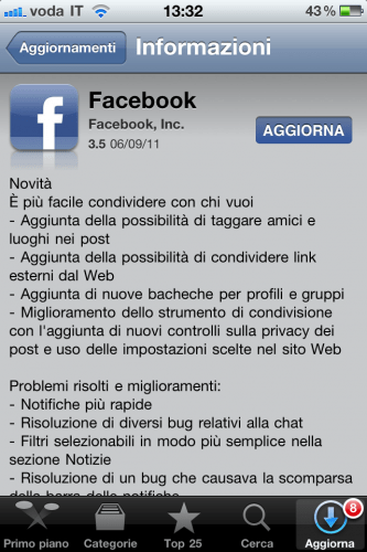 Facebook iPhone 3.5 update