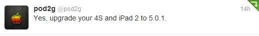 Pod2g tweet su update iOS 501