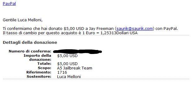 Donazione jailbreak A5 team