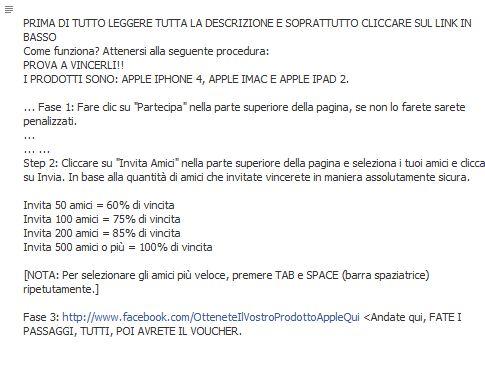 Istruzioni truffa Apple regala prodotti Facebook