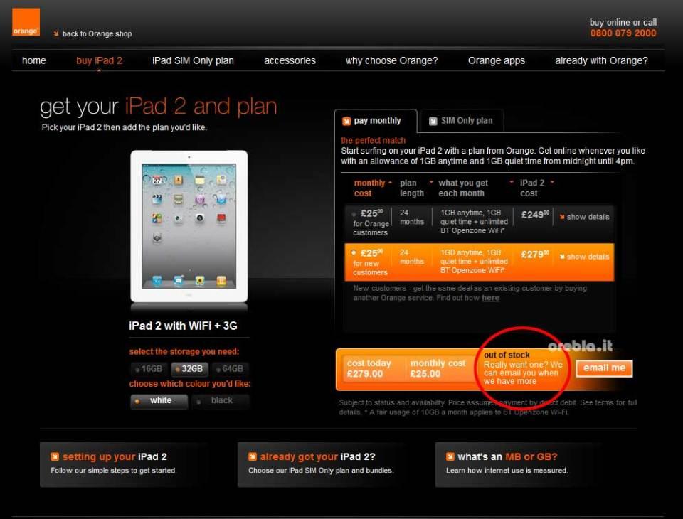 iPad 2 Out of Stock on Orange UK