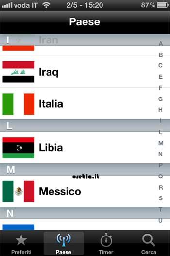 TV Italia: prima schermata lista nazioni