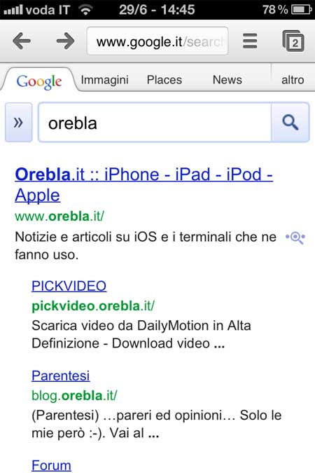 Chrome: ricerca con Google