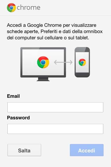 Chrome: sincronizzazione dati Google Account
