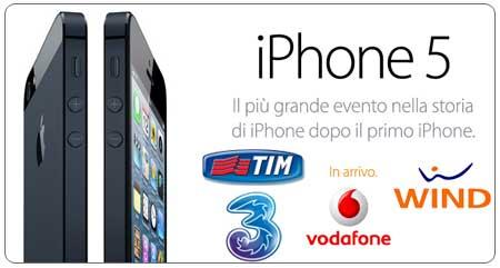 iPhone 5 con Vodafone Tim Tre Wind