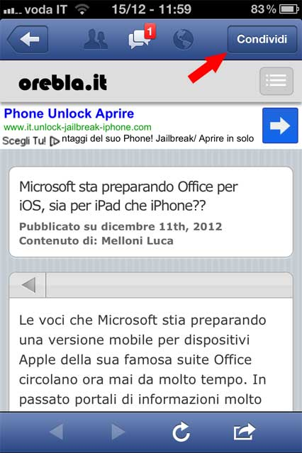 facebook-iphone-condividere-link