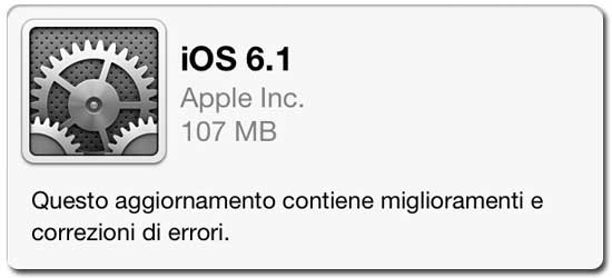 Apple rilascia iOS 6.1
