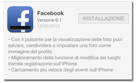 Facebook 6.1 aggiornamento