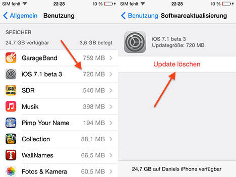 iOS 7.1 beta 3 aggiornamento