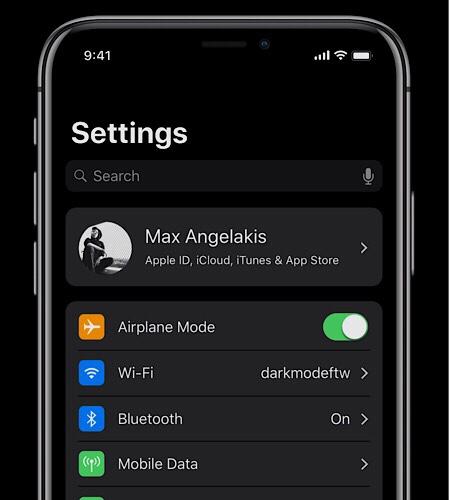 Tema scuro su iOS 12 concept