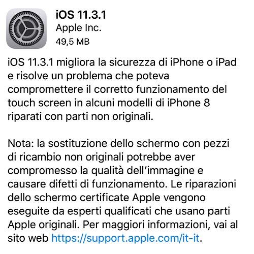Aggiornamento a iOS 11.3.1