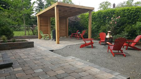 patio with gravel or paving stones