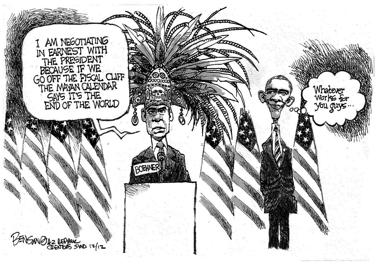 Steve Benson cartoon: End-of-the-world negotiations