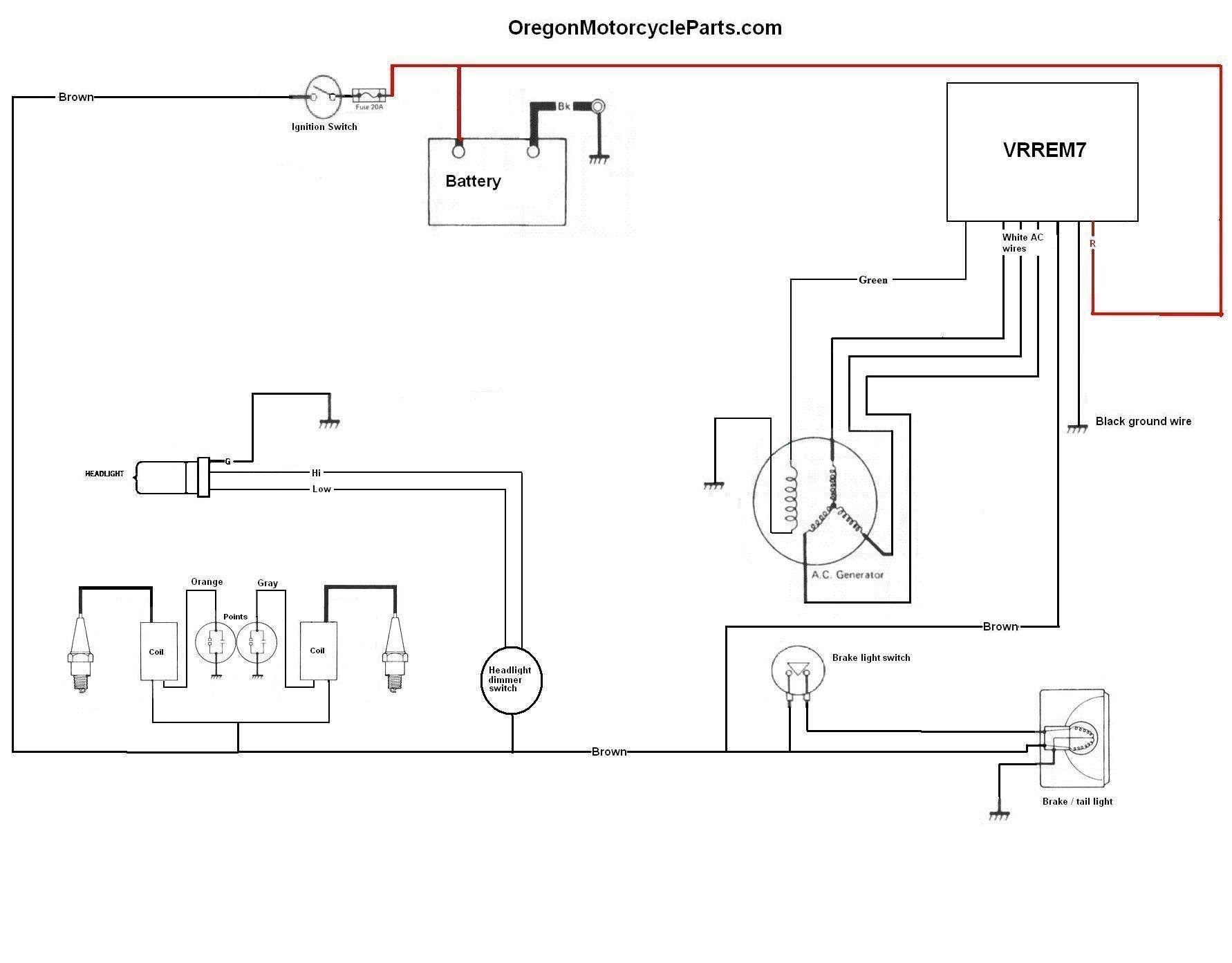 hight resolution of  original equipped with a separate regulator and rectifier this is an updated version fixing a small mistake in the previous version of the diagram