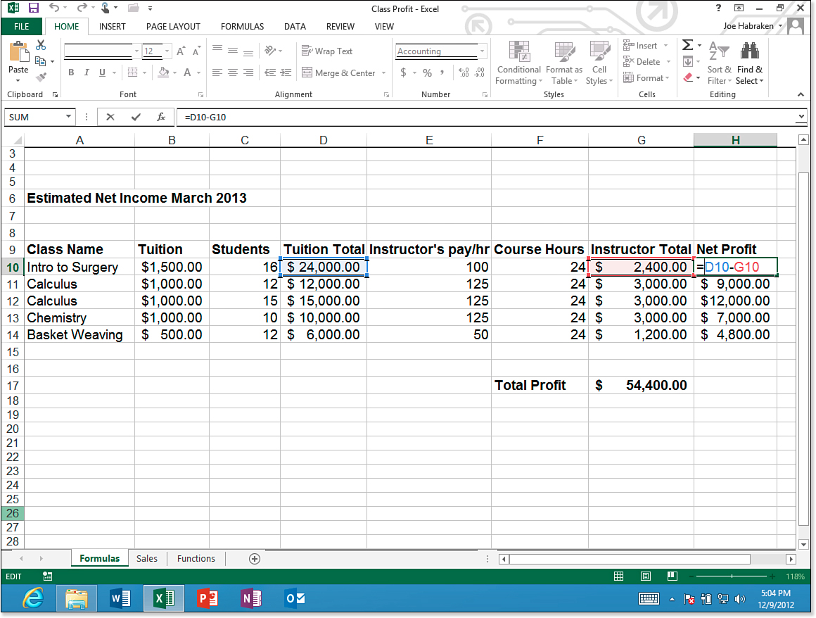 Performing Calculations In Excel Worksheets