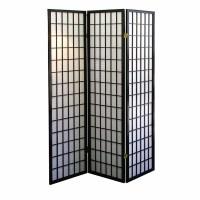 3-Panel Room Divider  Black