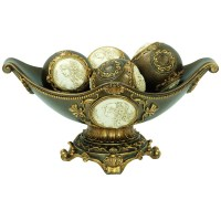 8H Handcrafted Bronze Decorative Bowl with Decorative Spheres