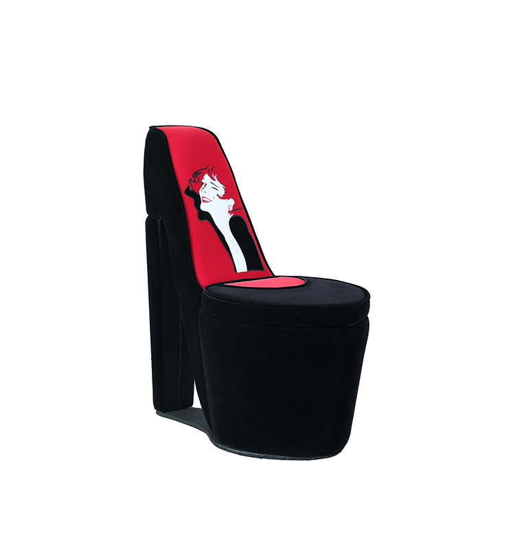red heel chair baseball and ottoman 32 86 in glamor girl black high storage