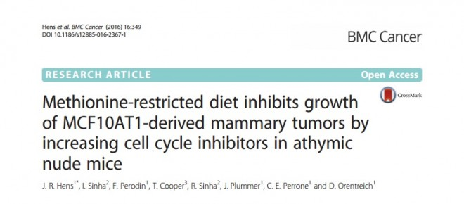 Methionine-restricted diet inhibits growth of MCF10AT1-derived mammary tumors by increasing cell cycle inhibitors in athymic nude mice