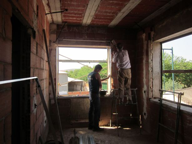Fitting the temporary window frames
