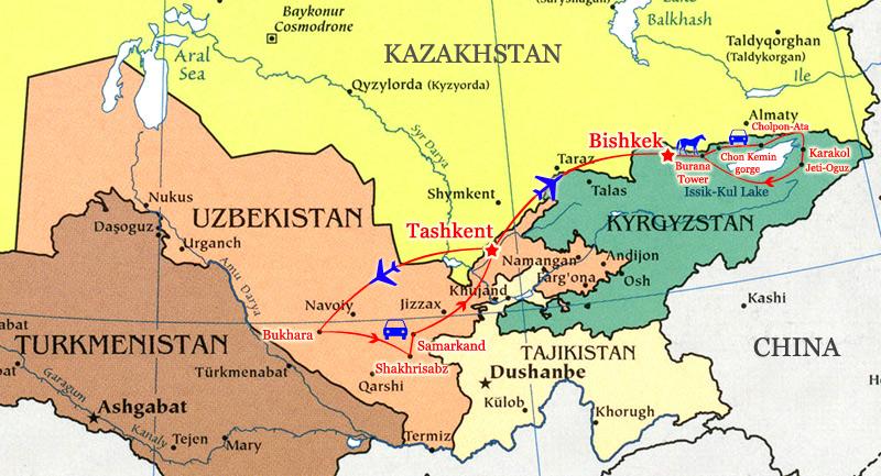 Uzbekistan, Kyrgyzstan map