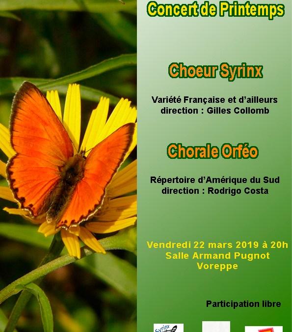 Concert de Printemps vendredi 22 mars 20h Voreppe