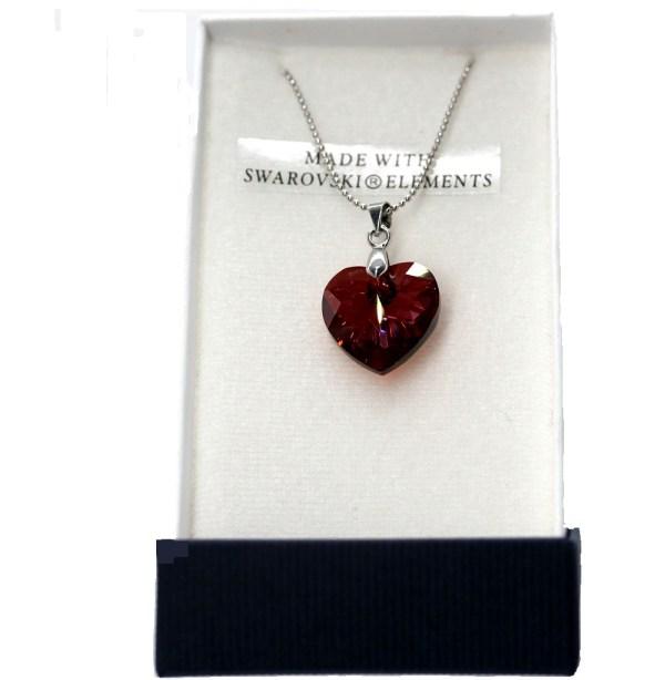 Pendentif swarovski coeur rouge