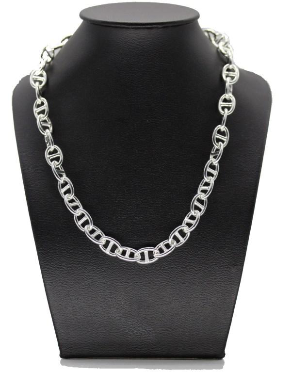 collier maille marine métal argenté ne noircit pas