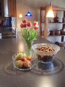 Mom's punch bowl, usually used for fruit, is being used here for pecans.
