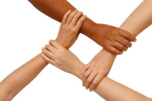 Hand coordination ,Multiracial hands holding each other in unity
