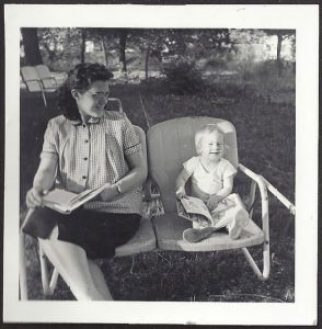 Me and mom reading together. Albuquerque, summer 1959.