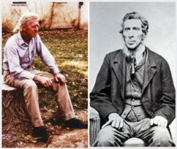 Left: my maternal grandfather, George D. Hankins (1898-1974), whom I knew. Right: his great-grandfather (my 3rd great-grandfather), Jacob J. Keysling (1789-1855). Note the similarities in face, build, pose, hands (clenched), and hair.