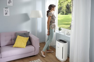 woman window with air cleaner
