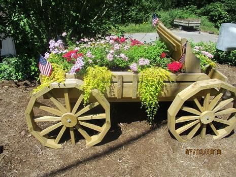 DIY landscaping flower wagon