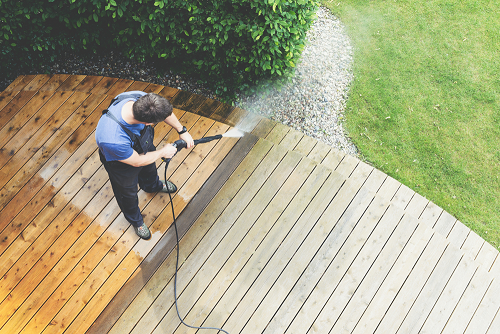 washing deck with power washer