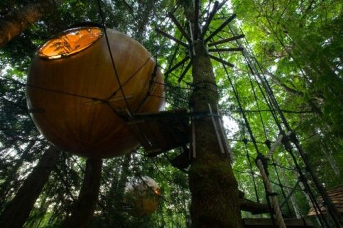 Vancouver Island, British Columbia, Canada --- 'Free Spirit Spheres,' a popular alternative night stays while visiting the Central Vancouver Area. near Errington and Qualicum Beach, Central Vancouver Island, British Columbia, Canada --- Image by © Boomer Jerritt/All Canada Photos/Corbis