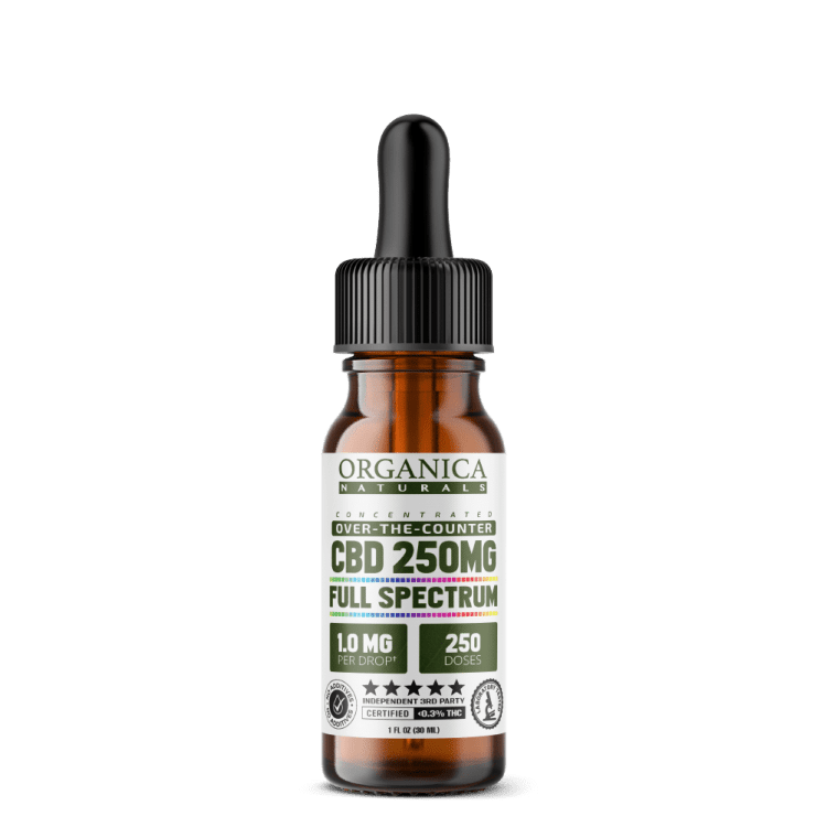 Pocket Size CBD Oil - Concentrated Full Spectrum 250 MG Tincture Bottle