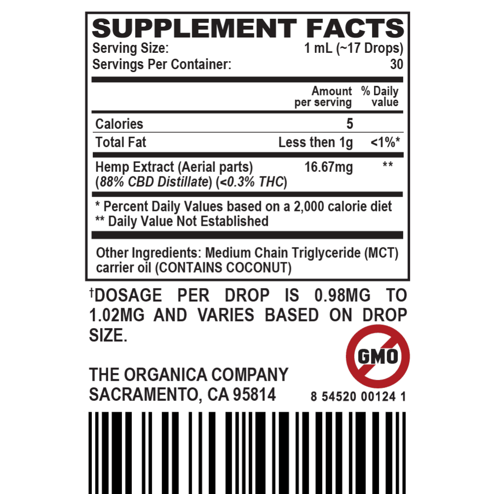 CBD Oil - Concentrated Full Spectrum 500 MG Tincture Supplement Facts Label