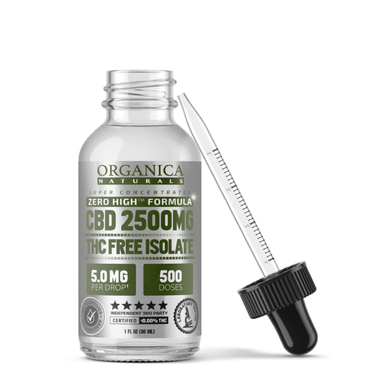 Zero High CBD Oil Super Concentrated Isolate Tincture - THC-Free - 2500MG Bottle With Dropper