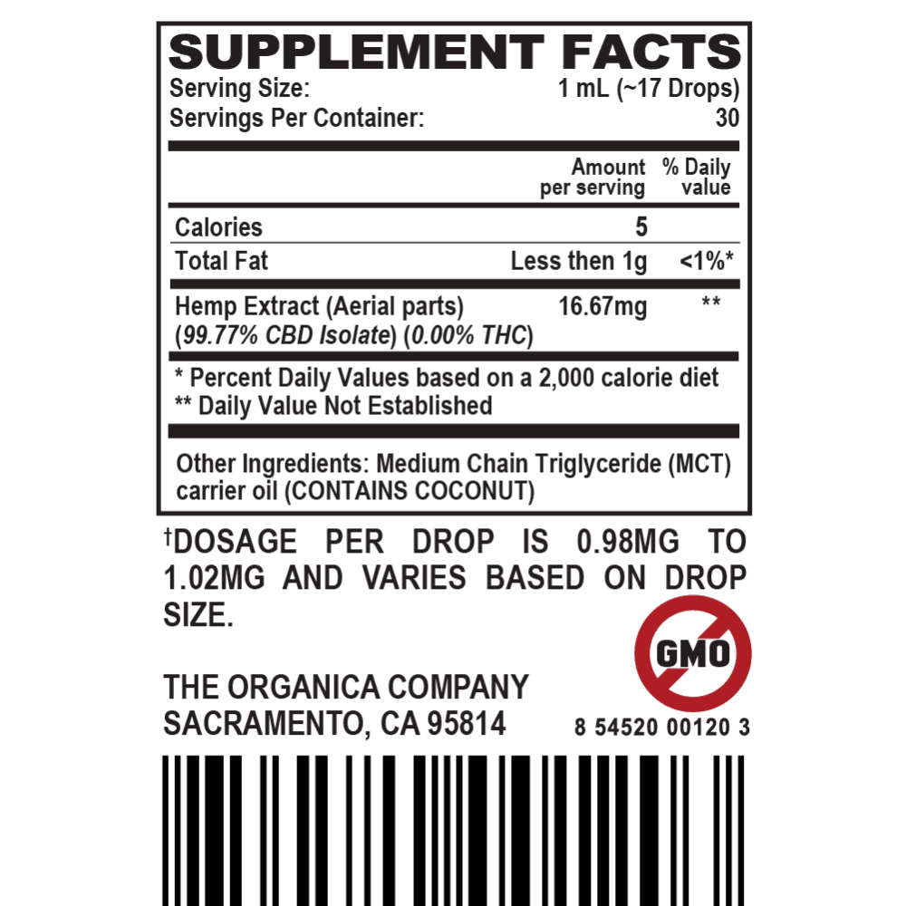 Zero High Concentrated CBD Oil Isolate Tincture - THC-Free - 500MG Supplement Facts