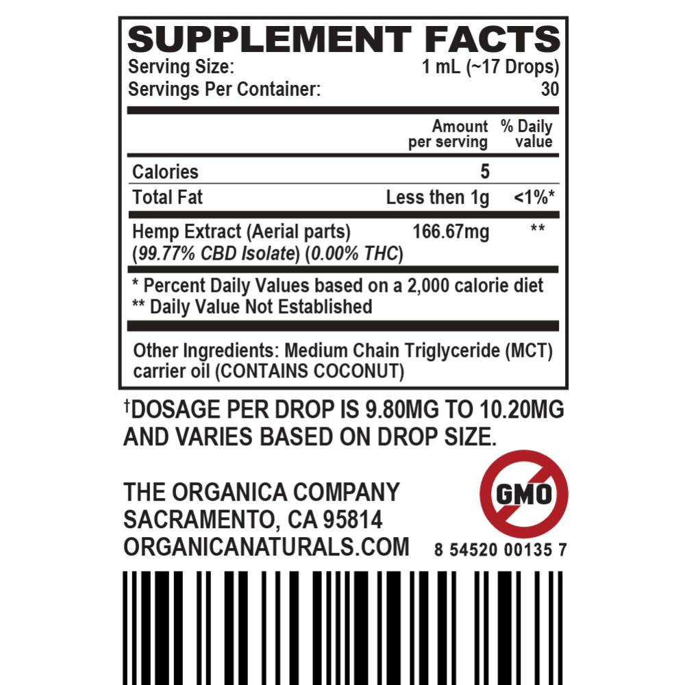 Zero High Hyper Concentrated CBD Oil Isolate Tincture - THC-Free - 5000MG Supplement Facts