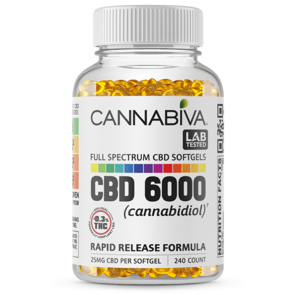 Full Spectrum CBD Softgels - Cannabiva 6000MG - 240 Capsules With 25mg Per Supplement - Bottle