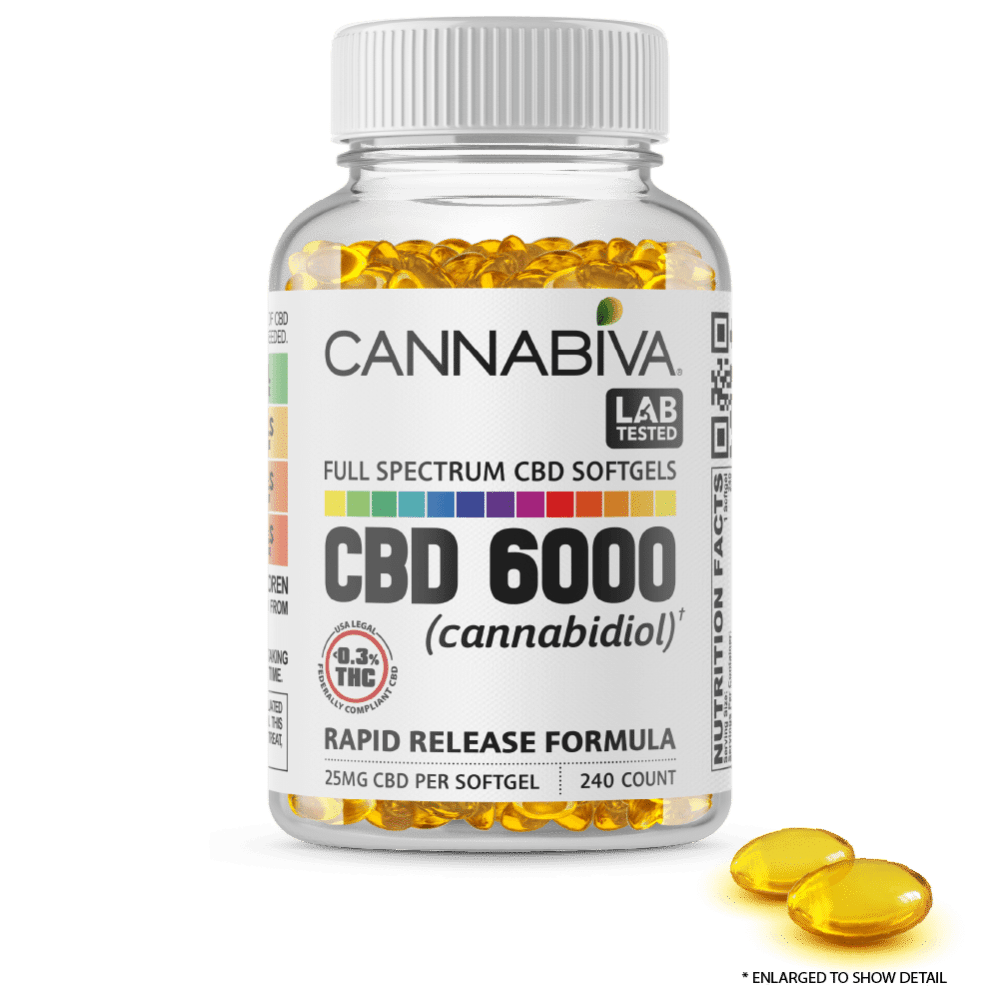 Full Spectrum CBD Softgels - Cannabiva 6000MG - 240 Capsules With 25mg Per Supplement - Capsule Zoom