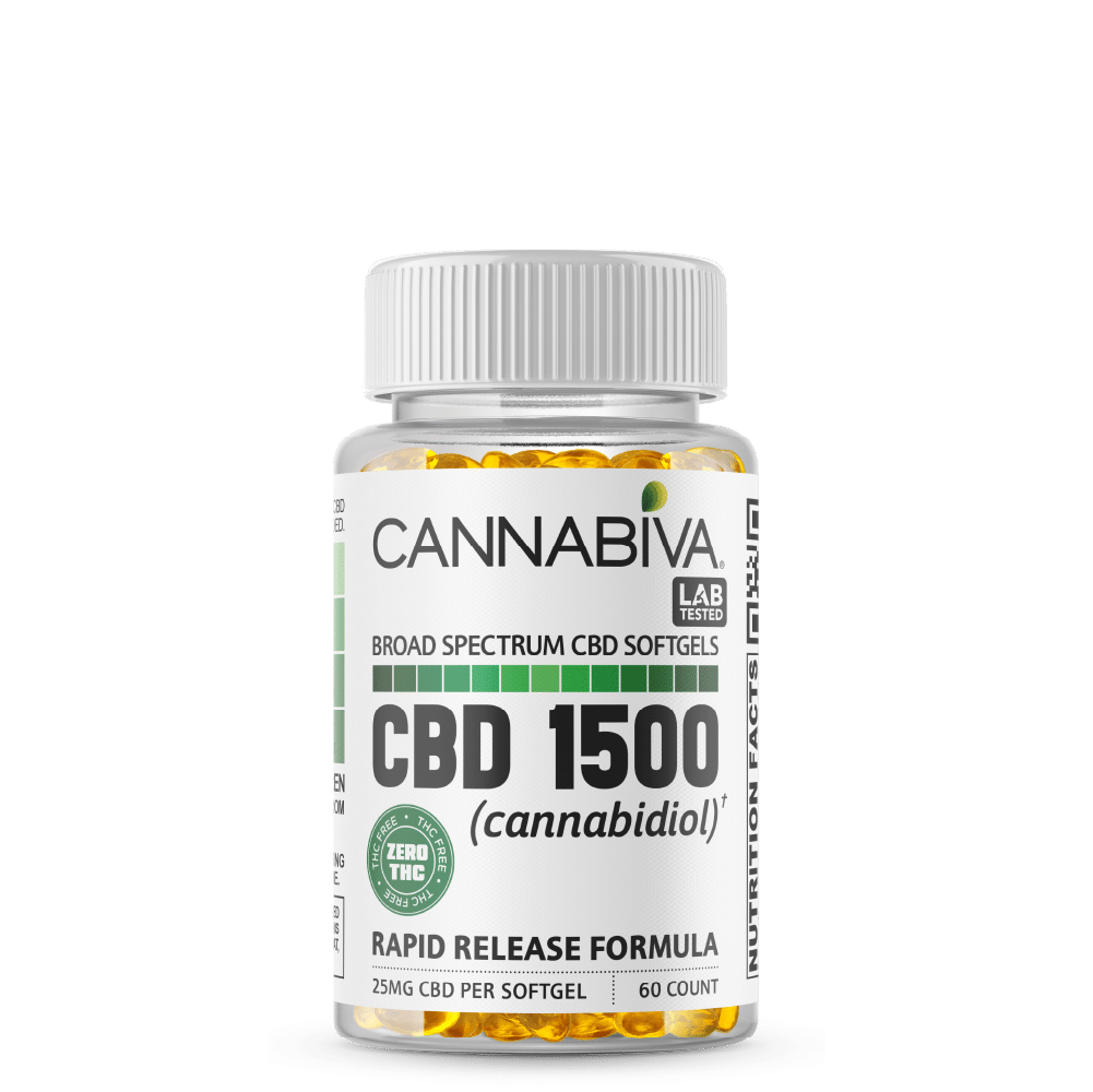 Broad Spectrum CBD Softgels (0% THC) - Cannabiva 1500MG - 60 Capsules With 25mg Per Supplement - Bottle