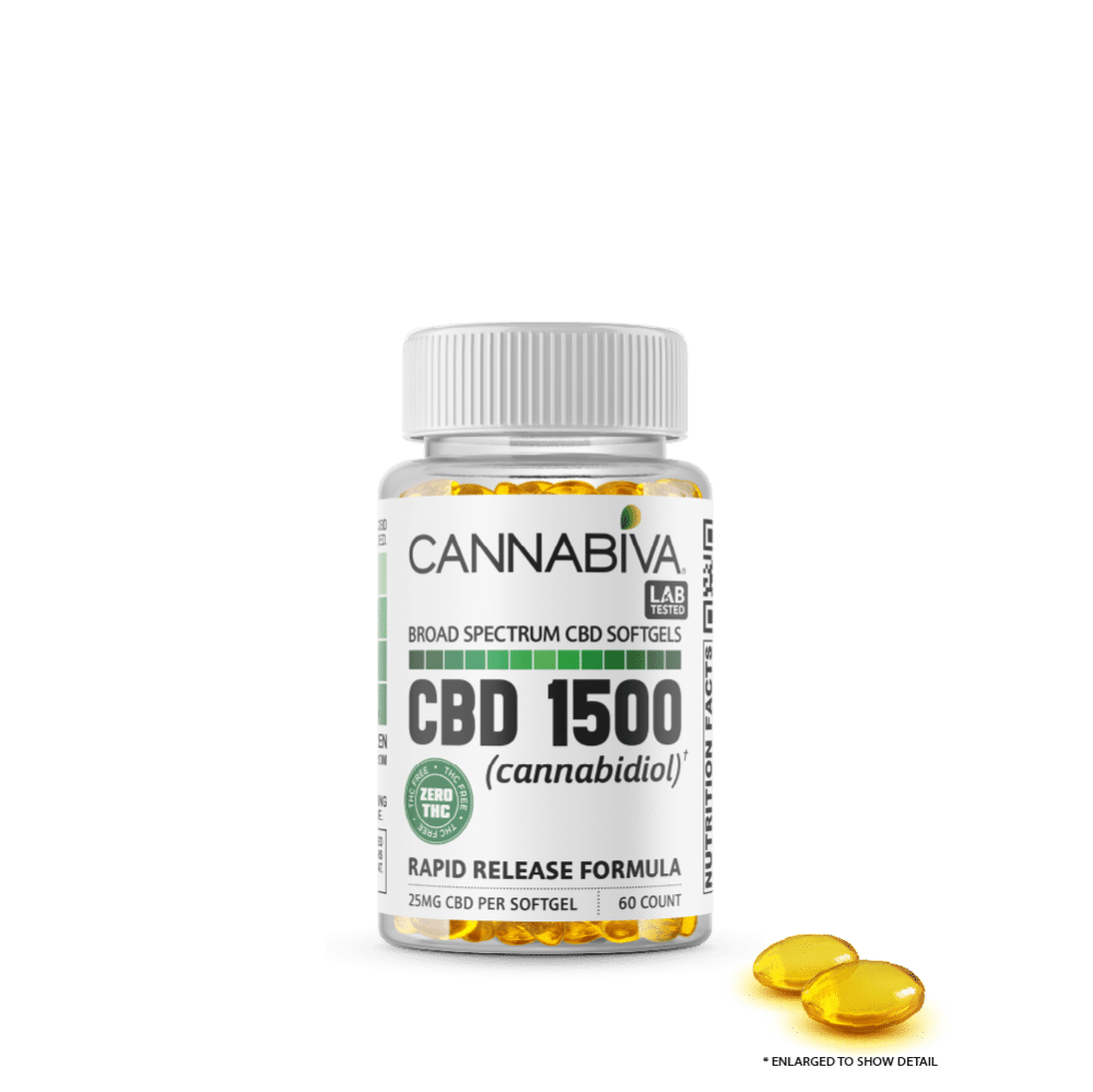 Broad Spectrum CBD Softgels (0% THC) - Cannabiva 1500MG - 60 Capsules With 25mg Per Supplement - Bottle with Capsule Zoom