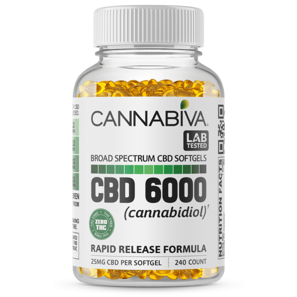 Broad Spectrum CBD Softgels (0% THC) - Cannabiva 6000MG - 240 Capsules With 25mg Per Supplement - Bottle