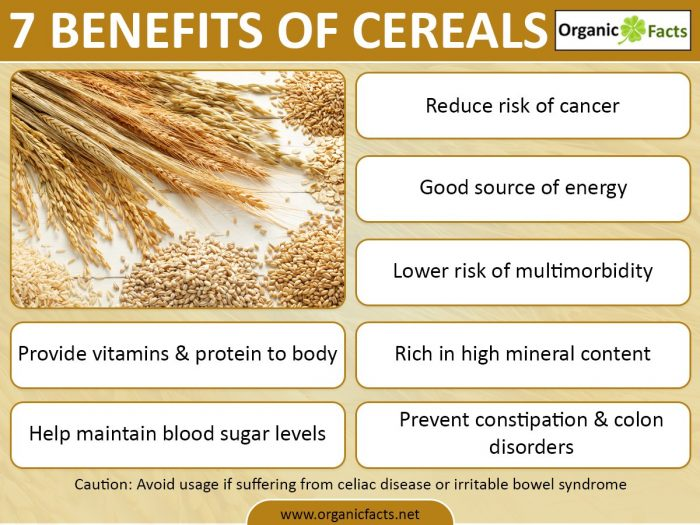 Health Benefits Of Cereal Organic Facts
