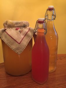 homemade kombucha in bottles