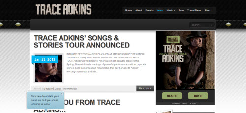 The Website of singer Trace Adkins